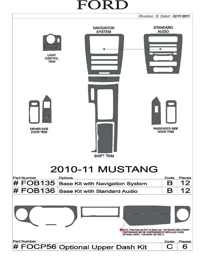 2010-2011 Mustang 11PC Interior Kit with Optional Upper Dash Kit
