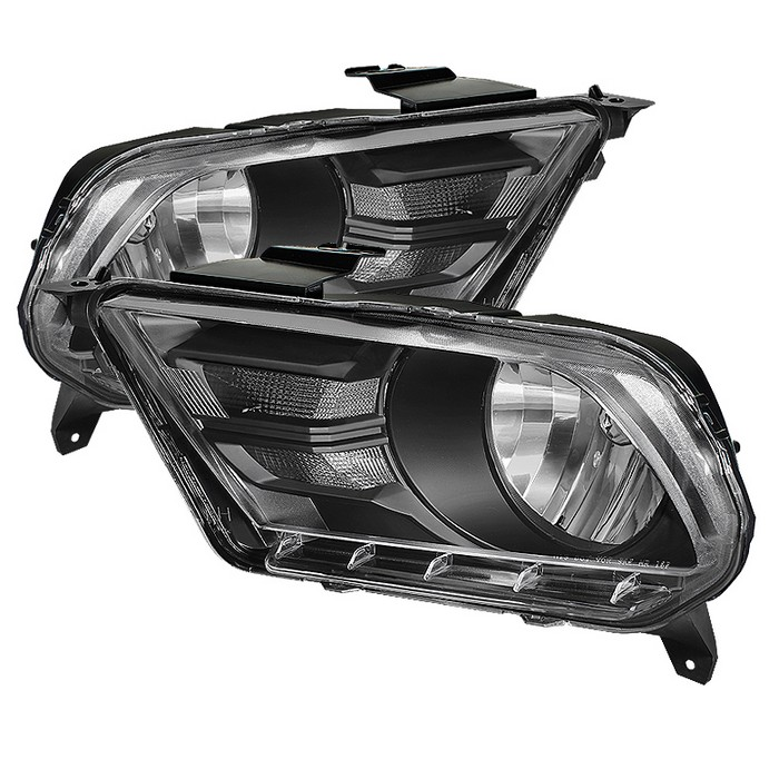 2010-2012 Mustang Headlights GEN 5 Crystal - BLACK (Pair)
