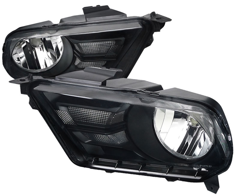 2010-2012 Mustang Headlights GEN X - BLACK CLEAR (Pair)