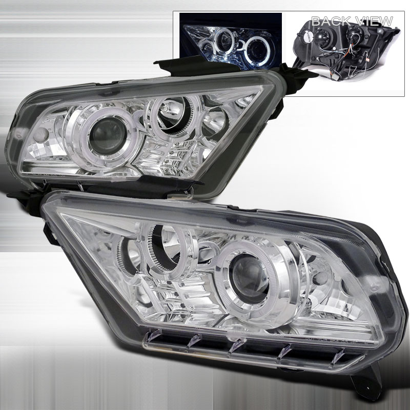 2010-2014 Mustang Headlights PROJECTOR GEN 2 - CHROME CLEAR (Pair)
