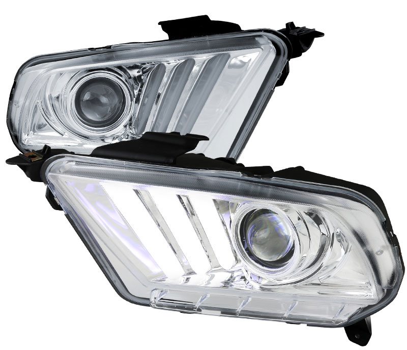 2010-2014 Mustang Headlights with Sequential turn signal 1-2-3 Blink CHROME (Pair) (NEW ITEM)