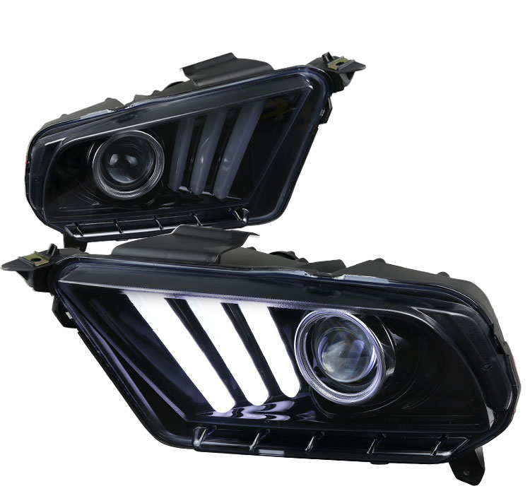 2010-2014 Mustang Headlights with Sequential turn signal 1-2-3 Blink SMOKED (Pair) (NEW ITEM)