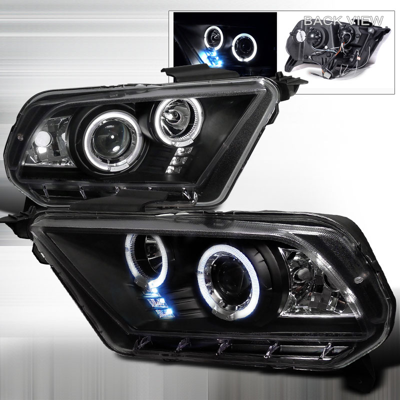 2010-2014 Mustang Headlights PROJECTOR GEN 2 - BLACK CLEAR (Pair)