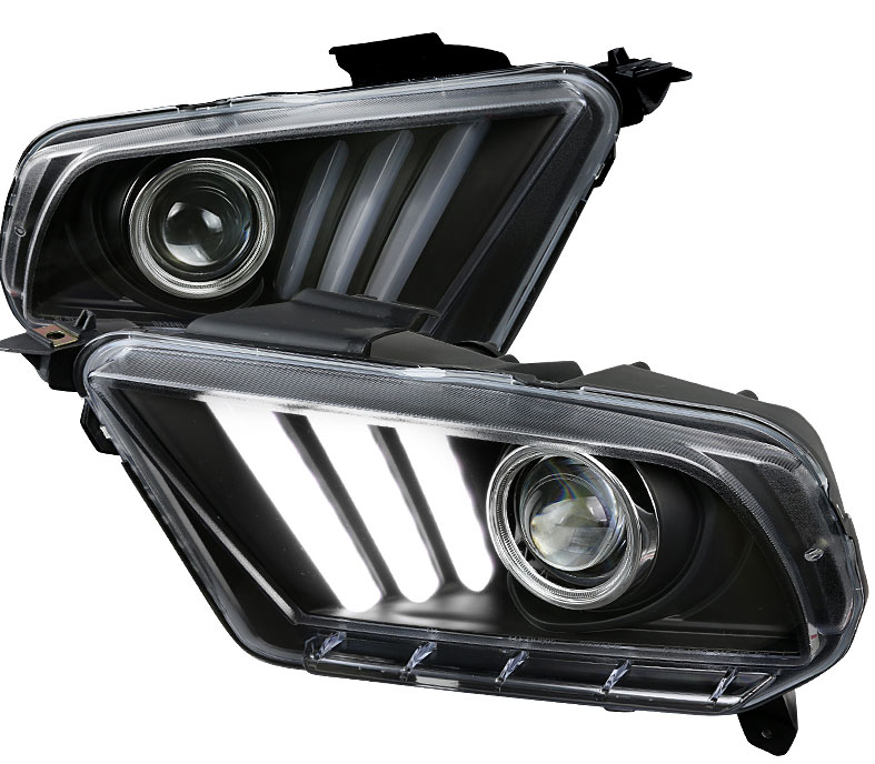 2010-2014 Mustang Headlights with Sequential turn signal 1-2-3 Blink BLACK (Pair) (NEW ITEM)