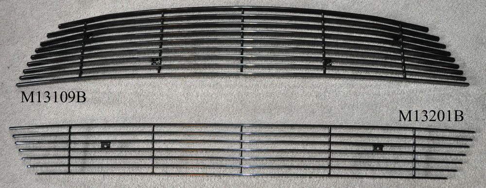 2013-14 Mustang V6 - Upper Billet Grille Center Pony Delete - Black M13109B with Lower Black M13201B - COMBO