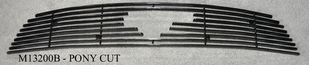 2013-14 Mustang V6 - Upper Billet Grille with Pony Cut out - Black M13200B