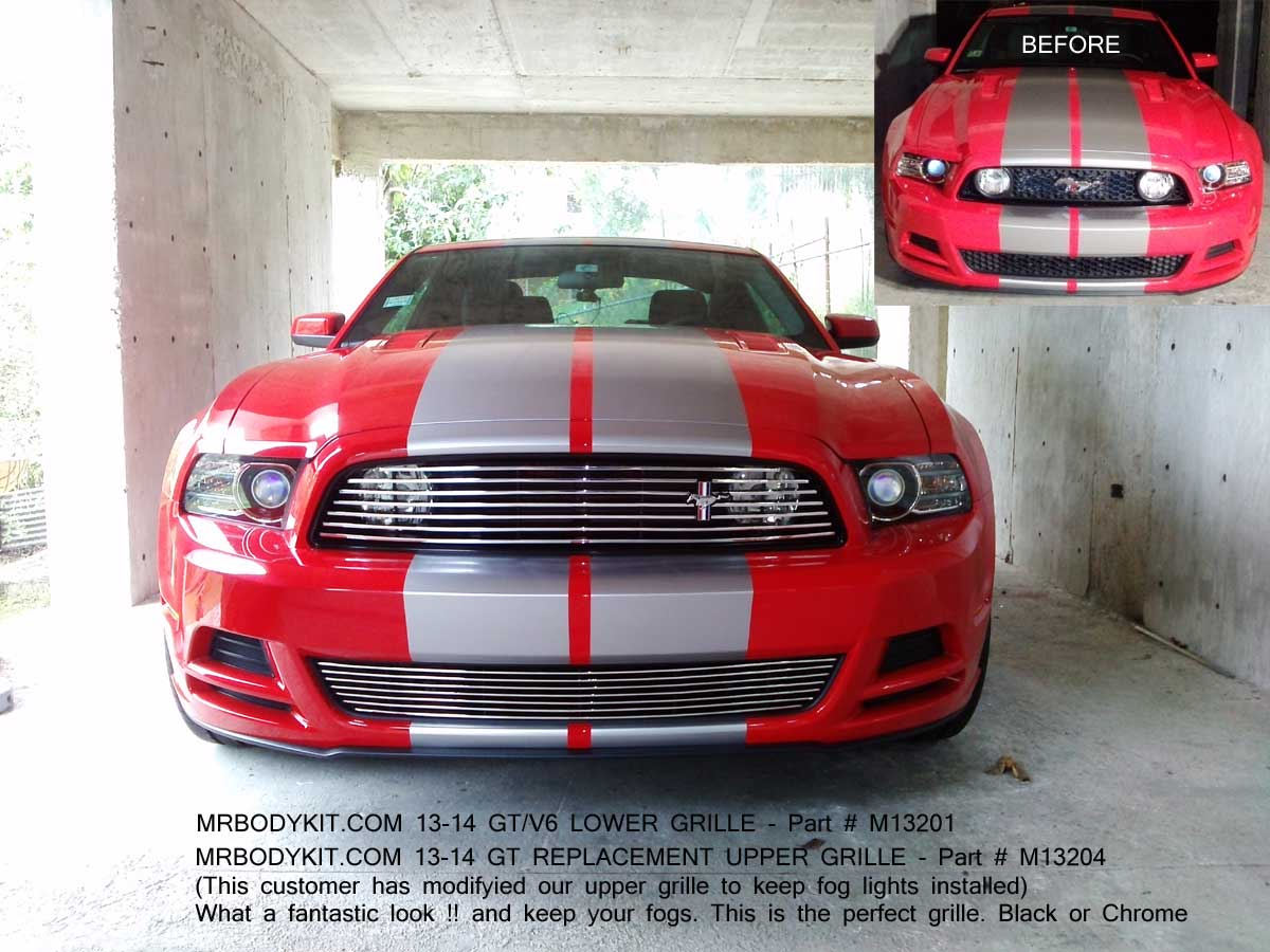 2013-14 Mustang GT & V6 - Upper FOG LIGHT DELETE Replacement Billet Grille - CHROME POLISH M13204 with Lower M13201