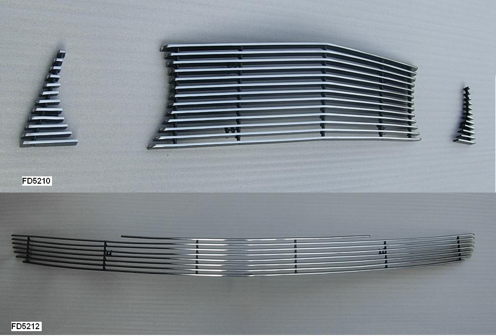 2010-12 Mustang GT 3pc Upper / Lower Billet Grille COMBO - No Cut out - CHROME