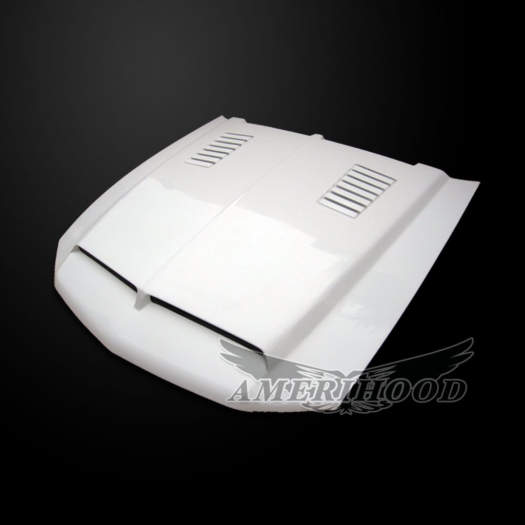 2010-2012 GT/V6 (NOT 10-12GT500) Mustang Type-E Style Functional Heat Extraction Ram Air Hood by Amerihood (Fiberglass)