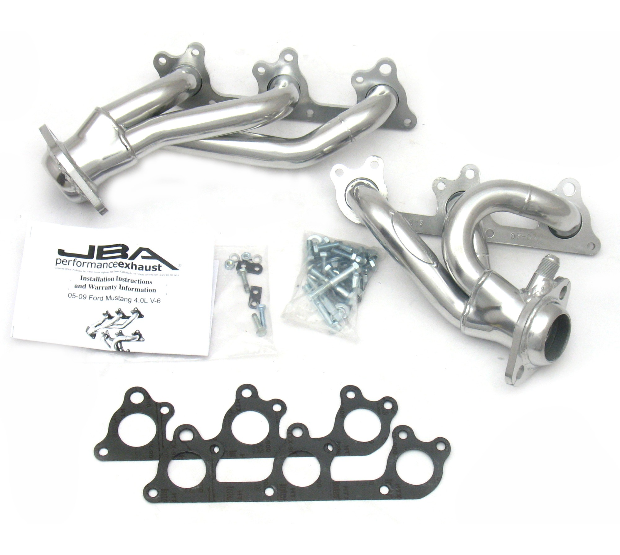 2005-2010 Mustang V6 JBA Cat-Forward Shorty Headers (4.0L) - Silver Ceramic