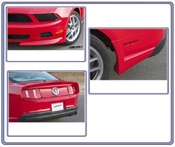 2010-2012 Mustang V6 Xenon 4pc Front & Rear Air Dam Kit