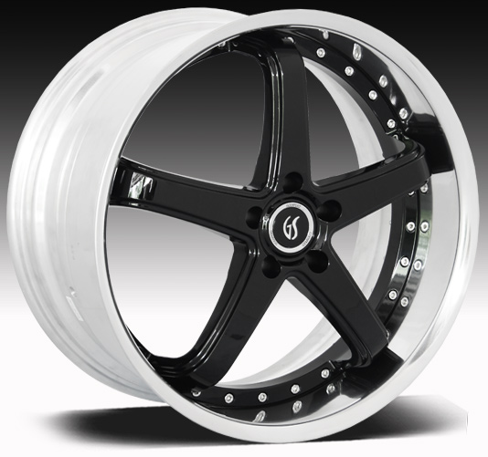 "OMEGA II GODSPEED 2PC Modular- Black Polished Lips - 94-14 GT/V6/GT500 w/Big Brakes(20x8.5, 20x10"")(NITTO TIRE OPTIONS)"