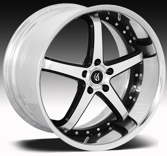 "OMEGA II GODSPEED 2PC Modular- Black Machine Face - 94-14 GT/V6/GT500 w/Big Brakes(20x8.5, 20x10"")(NITTO TIRE OPTIONS)"