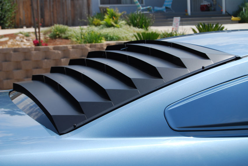 2005-2013 Mustang AH Rear Window Louver Kit - Aluminum Black