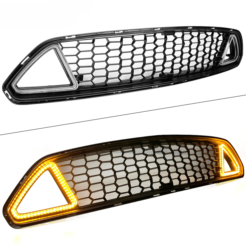 2015-2017 Mustang LED CLEAR LENS UPPER Grille White Running Lights w/yellow Turn Signals (Fits all models)