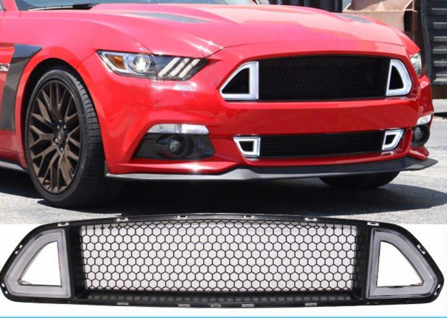 2015-2017 Mustang LED DRL UPPER Grille White Running Lights w/yellow Turn Signals (Fits all models)