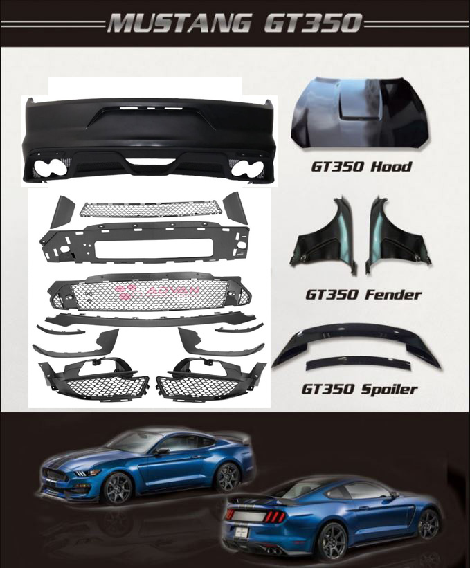 15-17 Mustang GT350 Style Mustang FULL Conversion Package - Direct fit 16PC KIT (Dual exhaust tips included)