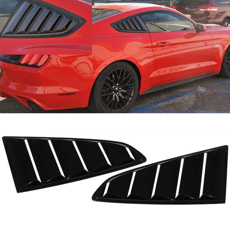 2015-2020 Mustang Quarter Window Louvers - OPEN VENT - Polyurethane GLOSSY BLACK UA