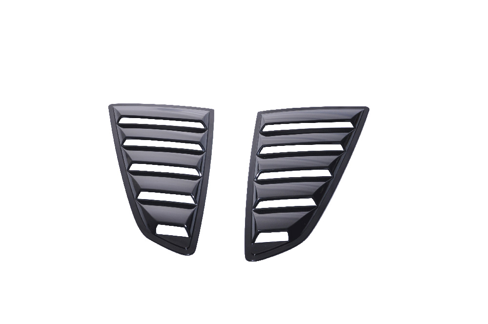2015-2018 Mustang Quarter Window Louvers - OPEN VENT - Polyurethane Black Paintable