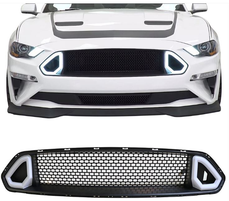2018-19 Mustang R Style LED DRL UPPER Grille White Running Lights (Fits all models)