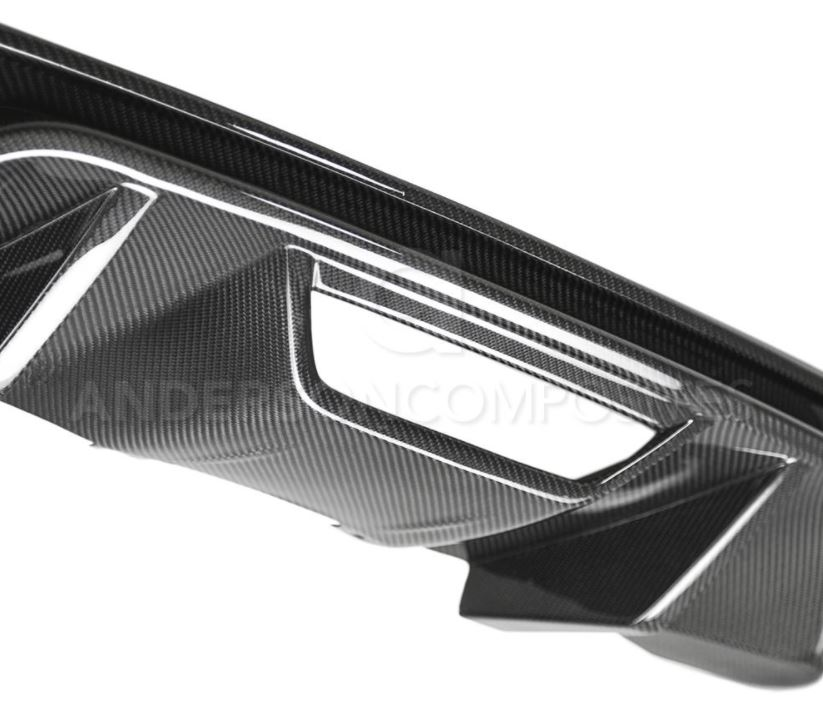 2018-19 Mustang Carbon Fiber REAR VALANCE TYPE-OE Quad Tip Style - CARBON FIBER