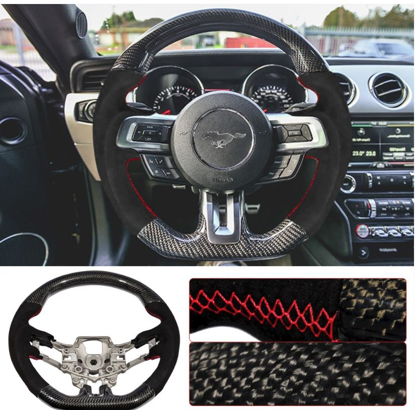 2015-17 Mustang Carbon Fiber Steering Wheel replacement with Suede and Red Stitches (V6/GT/GT500)
