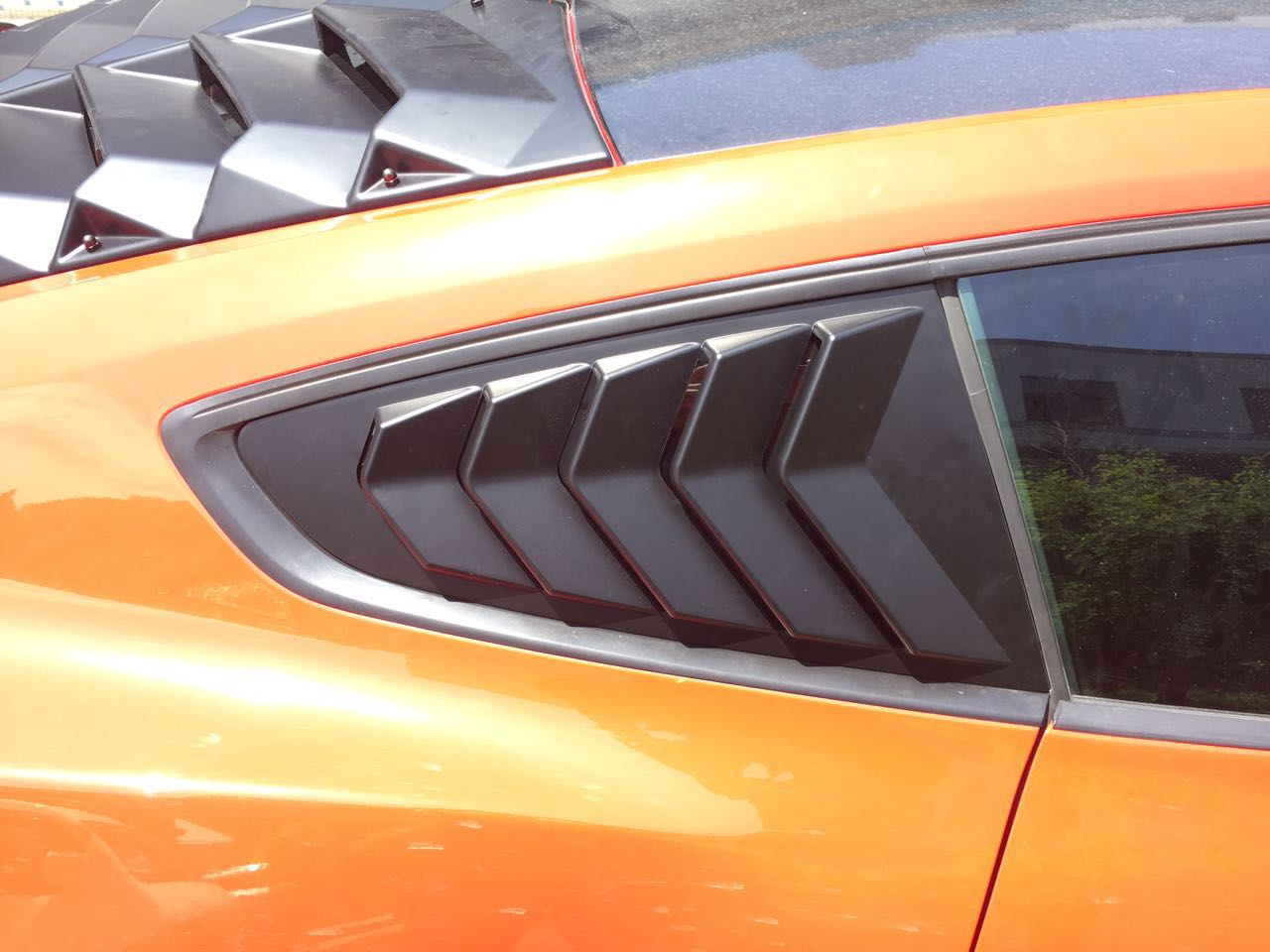 2015-17 Mustang Upper Quarter Window Louvers OPEN VENT 5 SLOT - PAIR - ABS Plastic