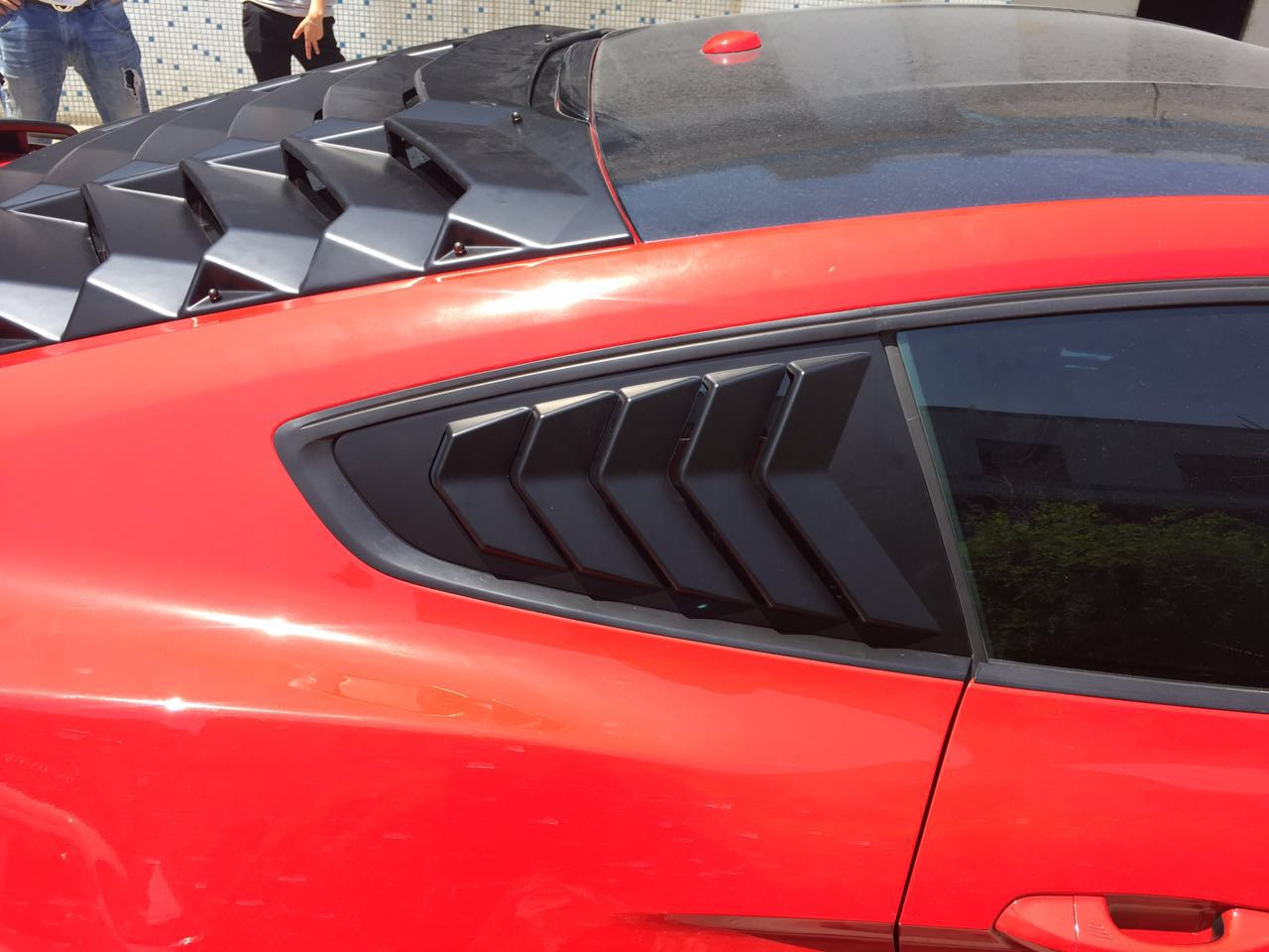 2015-18 Mustang Upper Quarter Window Louvers OPEN VENT 5 SLOT - PAIR - ABS Plastic