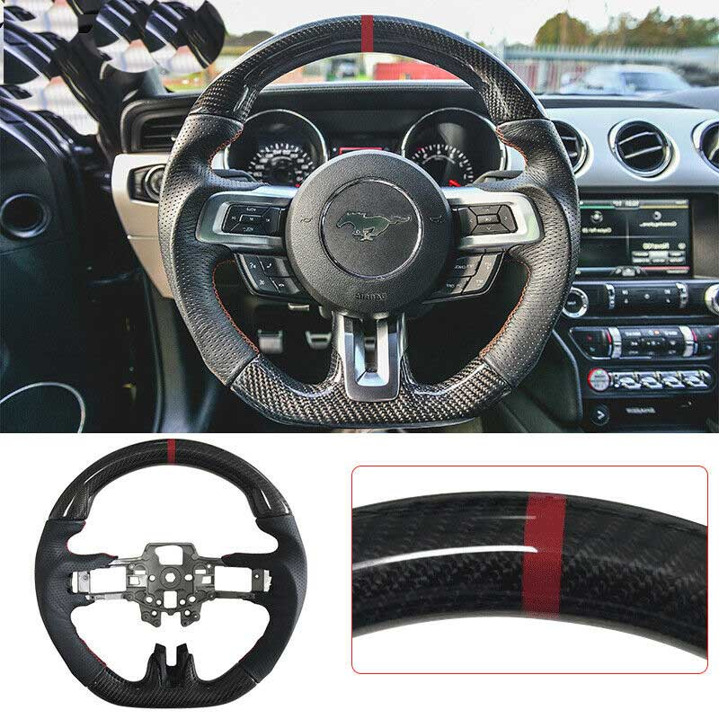 2015-17 Mustang Carbon Fiber Steering Wheel replacement with Leather and Red Stitches/Ring (V6/GT/GT500)
