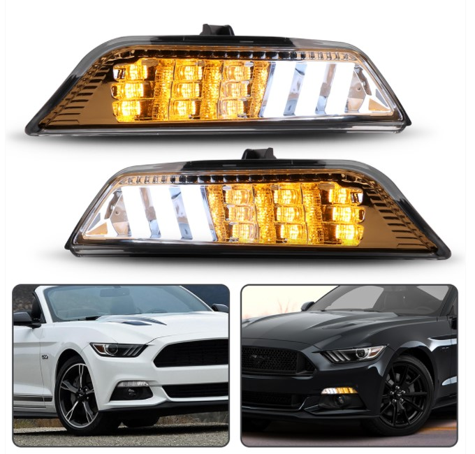 2015-17 Mustang Sequential Turn Signals Amber with White fog Style Lighting - CLEAR LENS - PAIR