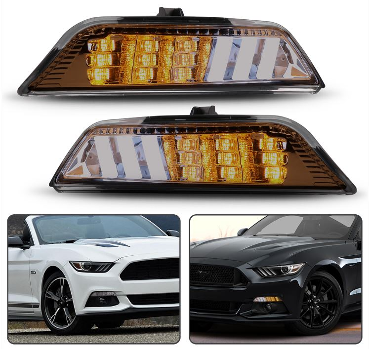 2015-17 Mustang Sequential Turn Signals Amber with White fog Style Lighting - SMOKED LENS - PAIR