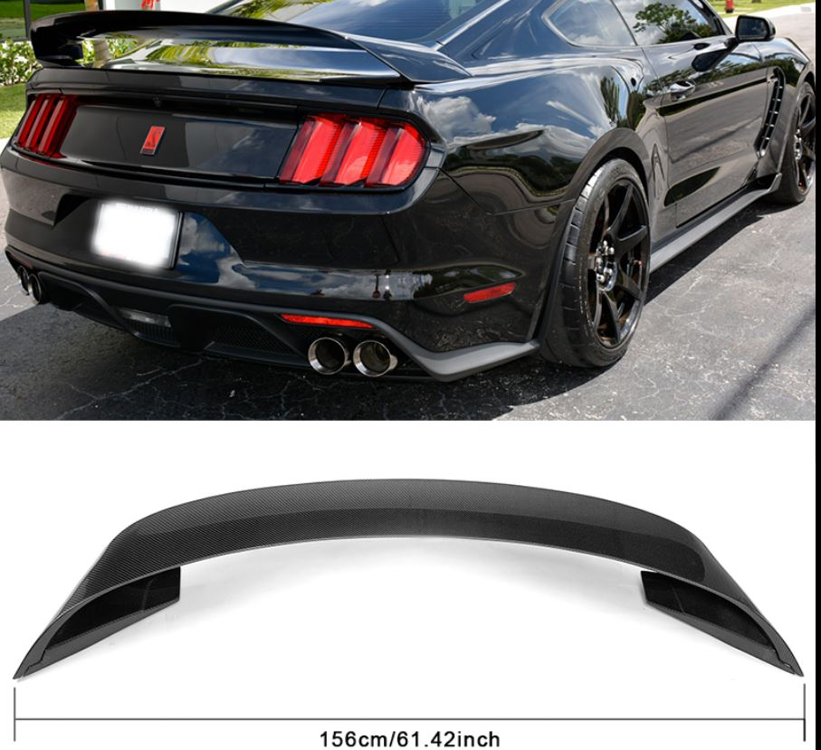 2015-18 Mustang Coupe GT350 GT350R Style Wing CARBON FIBER (With OEM Hole cover plate in Carbon fiber)