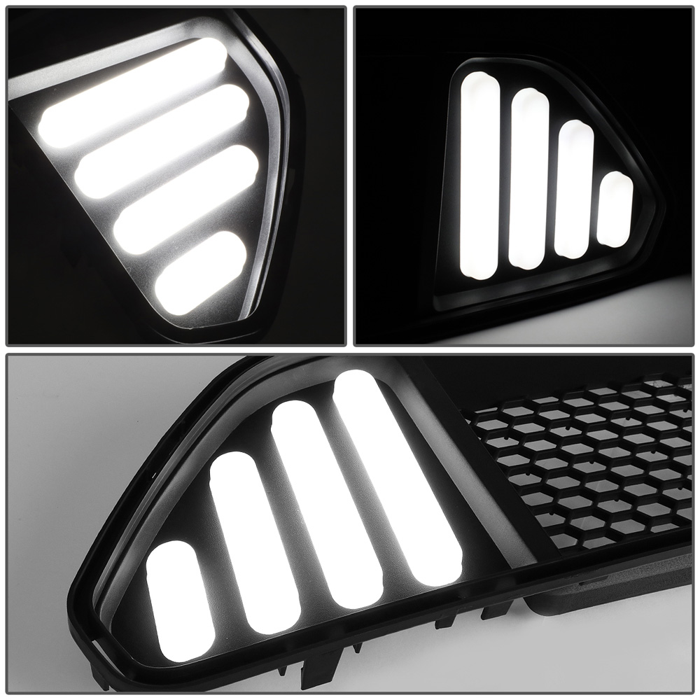 2015-2017 Mustang Upper LED DRL Grille w/8 WHITE LED LIGHTS (Fits all models)