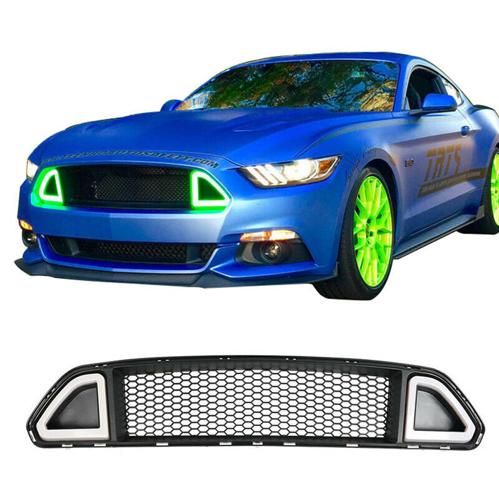 2015-2017 Mustang LED DRL UPPER Grille with GREEN Running Lights (Fits all models)