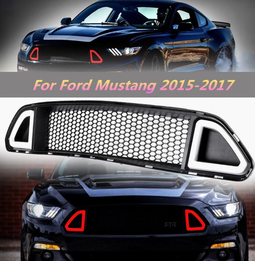2015-2017 Mustang LED DRL UPPER Grille with RED Running Lights (Fits all models)
