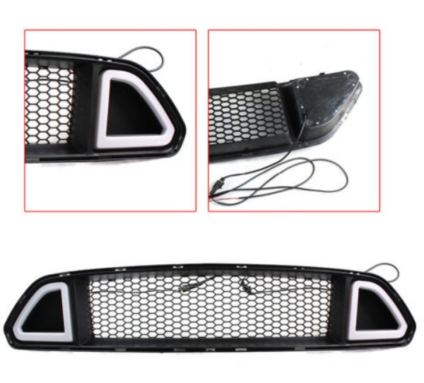 2015-2017 Mustang LED DRL UPPER Grille with WHITE Running Lights (Fits all models)