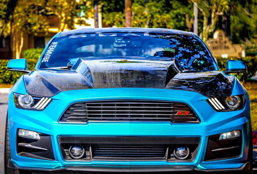2015-2017 Mustang 4 INCH COWL Hood by HCM (Fits all 2015 Models) FIBERGLASS