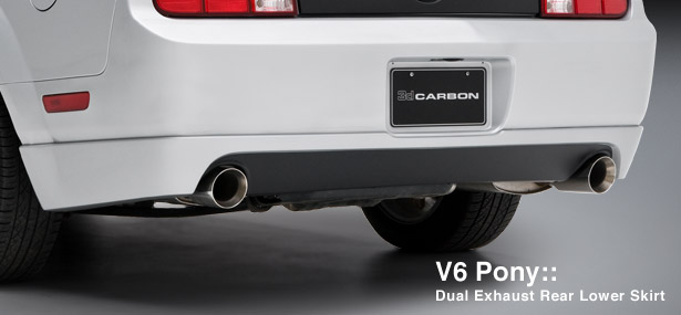 05-09 Mustang 3D Carbon V6 Rear Lower Skirt Conversion to DUAL EXHUAST (Paint Options) (FREE SHIPPING)
