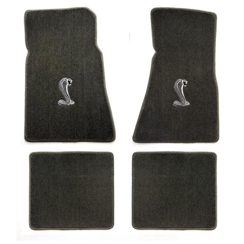 1979-1993 Mustang Coupe + Convertible Floor Mats - Grey (6 Emblem Options)