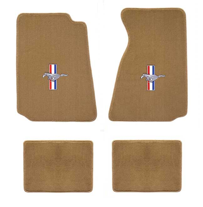 1979-1993 Mustang Coupe + Convertible Floor Mats - Parchment (6 Emblem Options)