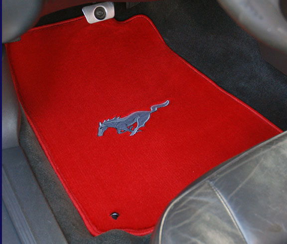 1979-1993 Mustang Coupe + Convertible Floor Mats - Red (6 Emblem Options)