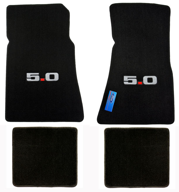 1979-1993 Mustang Coupe + Convertible Floor Mats - Black (7 Emblem Options)