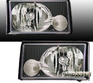 87-93 Mustang Headlights Gen-2 Design - 2PC Black - (Pair)