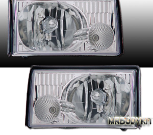 87-93 Mustang Headlights Gen-2 Design - 2PC Chrome - (Pair)
