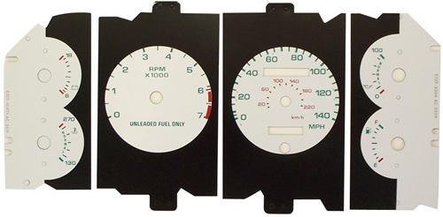 1987-1989 Mustang 5.0L White Face Gauge Kit w/ 140Mph Speedo