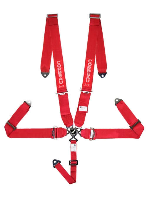 Corbeau 3 Inch Harness Belts - 5 Point Bolt-In Camlock - Red