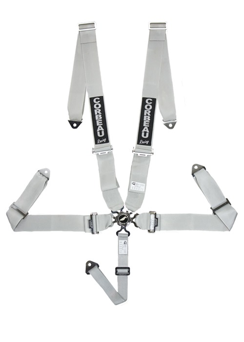 Corbeau 3 Inch Harness Belts - 5 Point Bolt-In Camlock - Silver