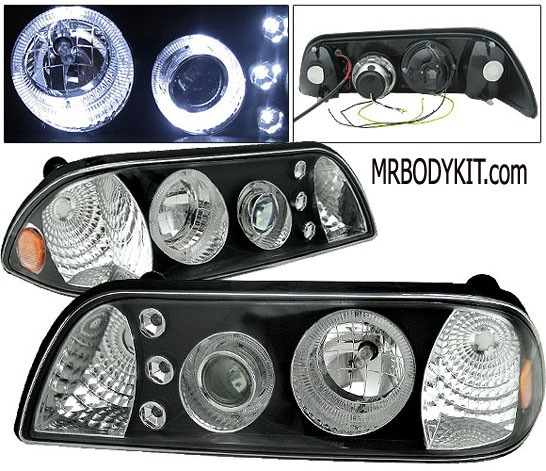 87-93 Mustang Headlights 1 PC Design - Projector Style - Black (Pair)