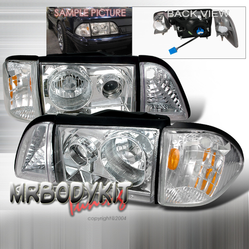 87-93 Mustang Headlights 6 PC - Projector Style - Chrome NO AMBER CORNERS (Pair) CLEARANCE SALE