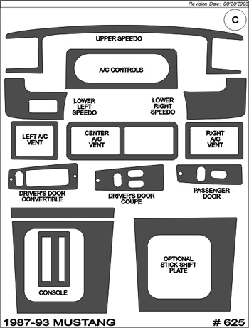 Superior Dash 1987-1993 Mustang Interior Dash Trim Kit